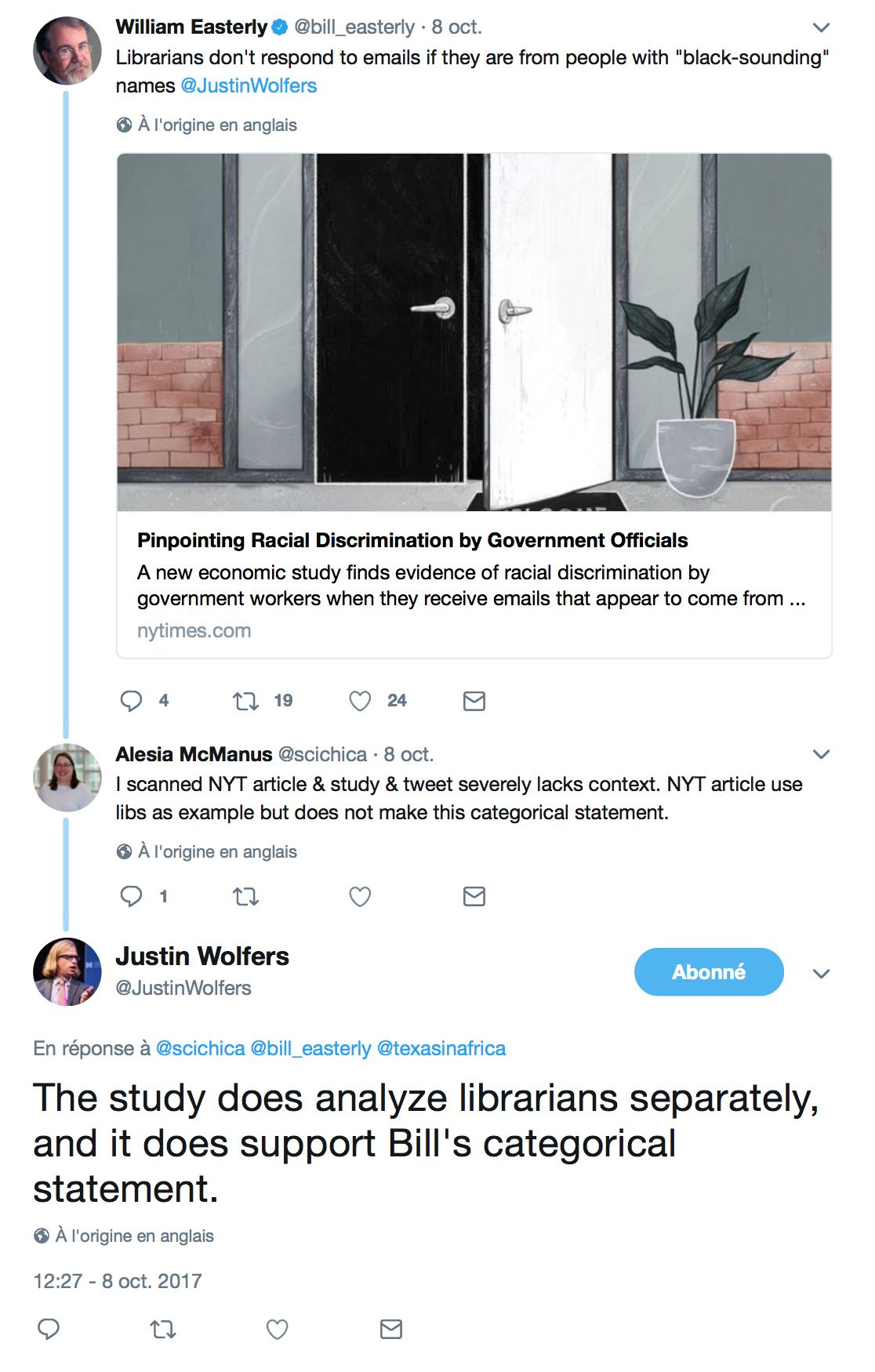 The scourge of white supremacy does not even spare public services actually despite what wolfers claims the study absolutely does not support easterlys categorical statement and since both of them are professors of falaconquin